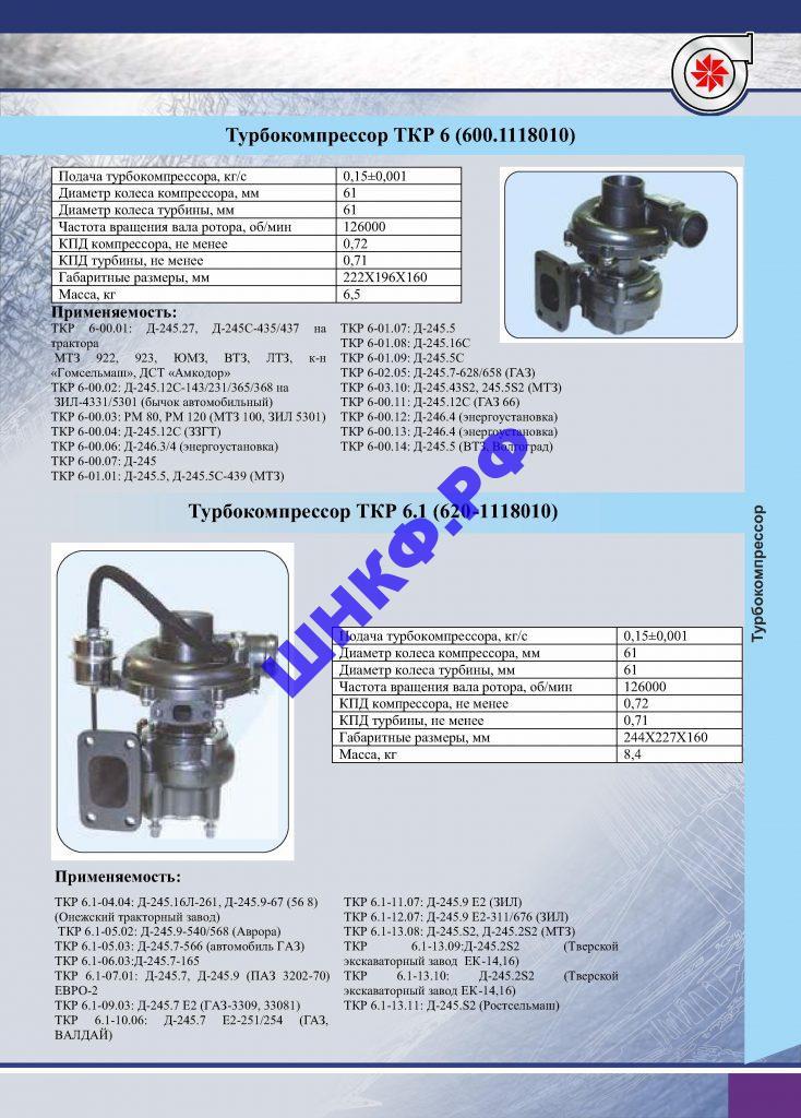 Применение и характеристики турбокомпрессора ТКР 6, ТКР 6.1.