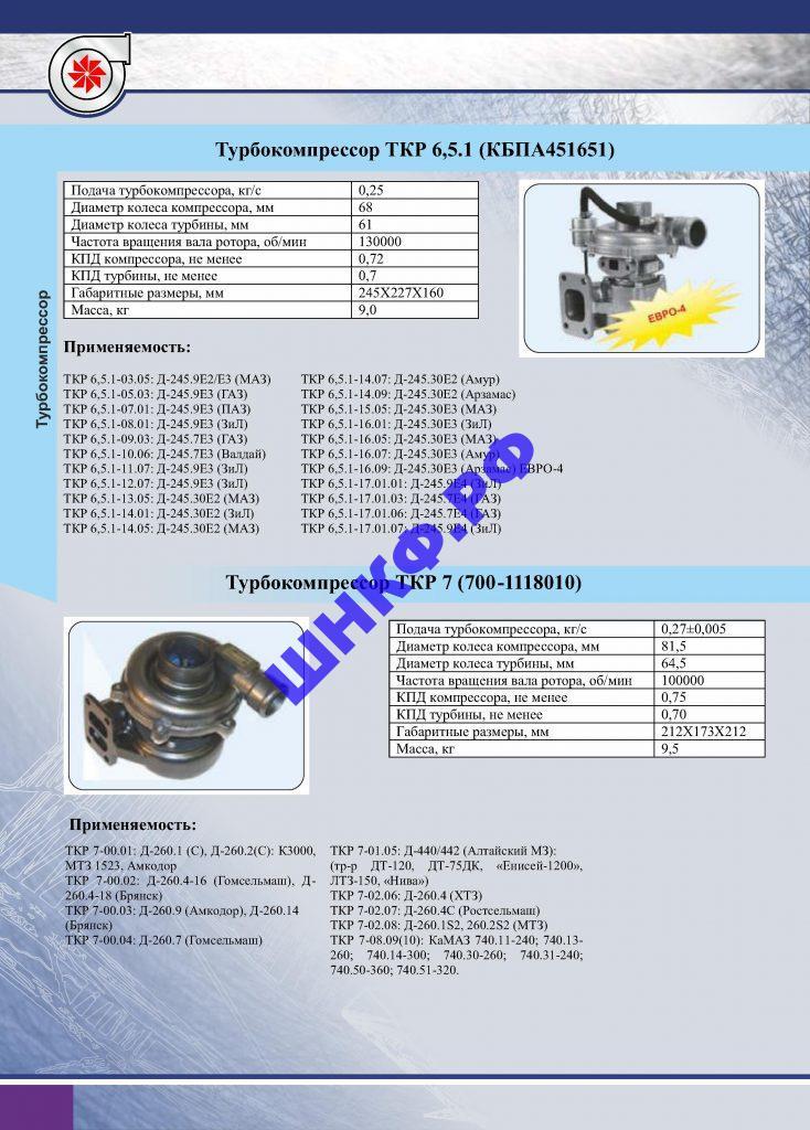 Применение и характеристики турбокомпрессора ТКР 6,5.1, ТКР 7