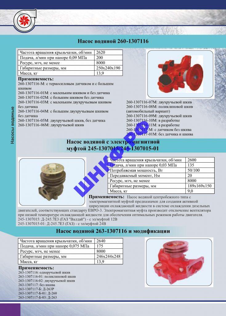 Применение и характеристики насос водяной 260-1307116, 245-1307015, 263-1307116